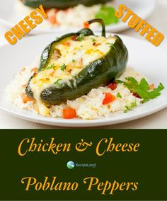 Classic stuffed peppers with a Mexican twist.  Chicken, cheese and mushrooms makes this a great change with a bit of spicy flare.