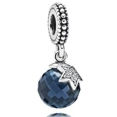 PANDORA Moon and Star with Clear CZ and Midnight Blue Crystal Dangle-348148