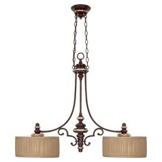 Featuring a champagne bronze finish and 2 beige drum shades, this scrolling pendant adds classic appeal above your kitchen island or billiards table.