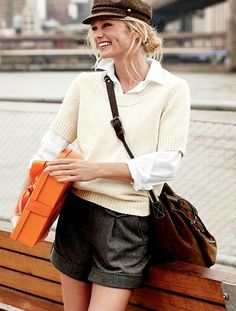 via Lands' End Canvas- cute way to style wool shorts, like the scoop neck sweater with button down blouse