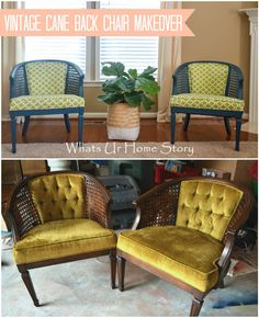 antique cane chair makeover-- Includes links to detailed instructions on painting, reupholstery and sewing the seats (including piping) Couch Makeover, Furniture Makeover, Home Furniture, Furniture Ideas, Refurbished Furniture, Repurposed Furniture, Dresser Repurposed, Antique Furniture, Wooden Furniture