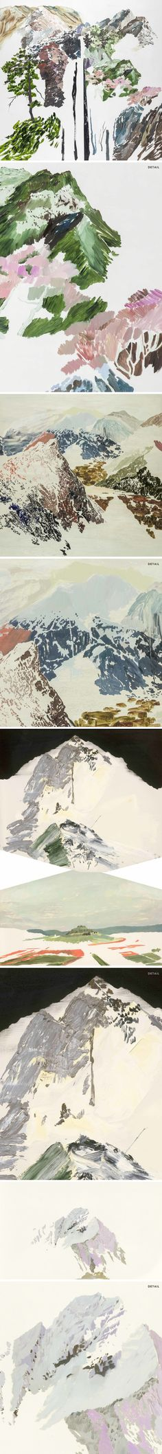 The Jealous Curator /// curated contemporary art /// chih-hung kuo Abstract Nature, Abstract Landscape, Painting Inspiration, Art Inspo, Mountain Drawing, Collage Drawing, Art Thou, Pixel, Weird Art
