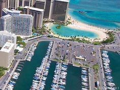 Ilikai Seen From the Air with the Ala Moana Marina in the forefront