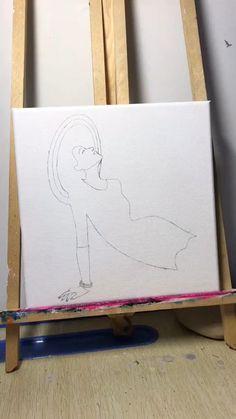 Easy Canvas Art, Small Canvas Art, Easy Canvas Painting, Art Painting Gallery, Canvas Painting Tutorials, Art Drawings Sketches Simple, Watercolor Art, Paintings, Craft