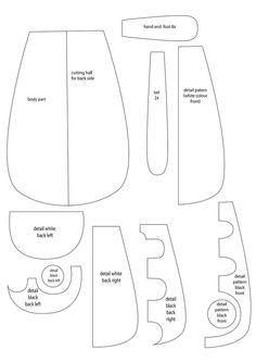 Honekoneko plush (from the anime Panty and Stocking) body pattern by sheffyne