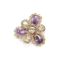 Pre-Owned Bounkit Gold-Tone Amethyst & Citrine Pin/Brooch ($250) ❤ liked on Polyvore featuring jewelry, brooches, bounkit, citrine jewelry, preowned jewelry, pin brooch and pin jewelry