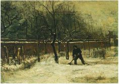 Vincent van Gogh Parsonage Garden at Nuenen in the Snow, The Painting