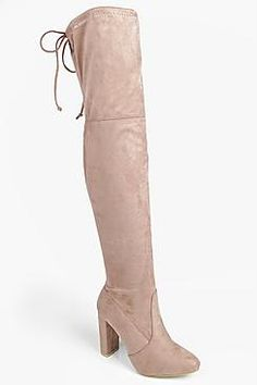 93e30b7e4315 Boohoo: Mia Block Heel Lace Up Back Over Knee Boot Nude Boots, Gladiator  Shoes