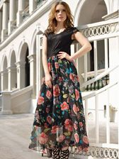 High Quality Sweet Girl Short Sleeve Floral Hollow Out Lace High Waisted V Neck Maxi Dress