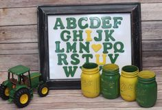 Items similar to ABC I LOVE YOU Children's Decor Distressed Wood Frame Alphabet Wood Letters Hand Painted and Distressed on Etsy John Deere Boys Room, John Deere Bedroom, John Deere Baby, Farm Bedroom, Kids Bedroom, Bedroom Ideas, Tractor Room, John Deere Decor, Man Room