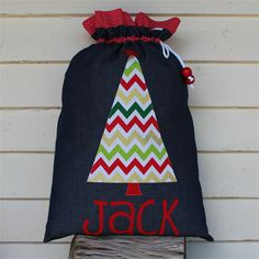 Denim Santa Sack (3 letters)