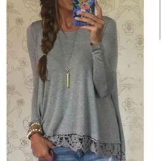 NWOT Stylish Lace Spliced Hem Long Sleeve Gray T-Shirt Boutique Tops Tees - Long Sleeve