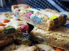 Thick and Chewy M&M Cookie Bars- Need to cook them for a shorter time next time so they are more mushy