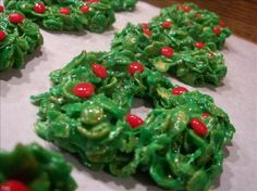Christmas Cornflake Wreath Cookies from Food.com:   								I made these every year when my kids were small.  This year, my daughter resurrected the recipe for our holiday cookie trays.  This recipe brings back lots of memories for us.