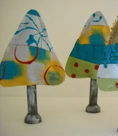 Make Hand Painted Patchwork Christmas Trees
