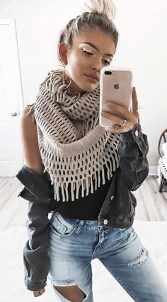 how to style a knit scarf : denim jacket + top + rips