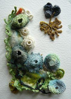 Liz Cooksey - Textitle Artist - Gallery II seashore study V Freeform Crochet, Crochet Art, Irish Crochet, Free Crochet, Textiles Techniques, Techniques Couture, Textile Fiber Art, Textile Artists, A Level Textiles