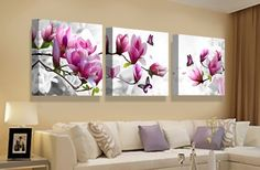 Canvas Print Painting Pictures For Kitchen Modular Picture Posters Room Decor Art Orchid Modern Flowers 3 Panel Wall Art Poster Pink Flower Pictures, Living Room Designs, Living Room Decor, Room Color Schemes, Bathroom Wall Art, Living Room Pictures, Home Living, Diy Painting, Painting Canvas