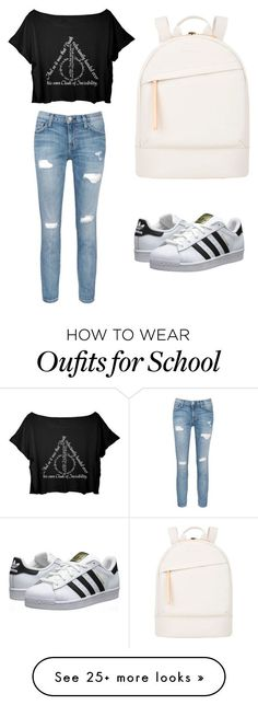 """School"" by i-am-sher-locked on Polyvore featuring Current/Elliott, adidas Originals and Want Les Essentiels de la Vie"