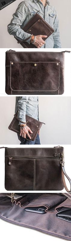 Handmade leather clutch bag wallet leather ipad case men Black long