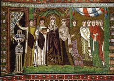 Empress Theodora and Her Attendants, mosaic, Church of San Vitale, Ravenna, Byzantine