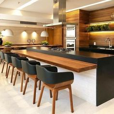 Modern Kitchen Design – Want to refurbish or redo your kitchen? As part of a modern kitchen renovation or remodeling, know that there are a . Kitchen Room Design, Modern Kitchen Design, Kitchen Colors, Home Decor Kitchen, Interior Design Kitchen, Kitchen Dining, Kitchen Ideas, Modern Bar, Dining Area