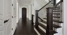 dark floors - but paint stair spindles white