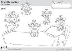 """Free """"Five Little Monkeys"""" coloring page from Super Simple Learning. Tons of free worksheets and flashcards at www.supersimplelearning.com/resource-center. #kindergarten #preK #ESL"""
