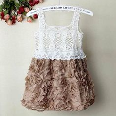 Girls Princess Party Wedding Rose Flower Vintage Crochet Lace Dress 1-6 Years