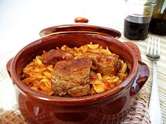 Greek Traditional Pasta Beef Casserole (Giouvetsi/Youvetsi): One of the best recipes of the Greek cuisine for Pasta with Beef, using Orzo! Veal Recipes, Pasta Recipes, Cooking Recipes, Healthy Recipes, Beef Casserole Recipes, Casserole Ideas, Pasta Casserole, Beef Pasta, Rice Pasta
