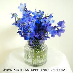 Pretty blue delphiniums in a ribbed jar. Just gorgeous! Hire items from:  www.aucklandweddinghire.co.nz  Like us at: www.facebook.com/auckweddinghire Read more on our blog: http://aucklandweddinghire.blogspot.com/