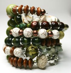 Memory Wire Wrap Bracelet. Beaded. Nature Nurtured. Green. Olive. Chartreuse. Tan. Brown. Stone. Wood. Accessories Bangle. $32.00, via Etsy.