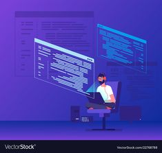 Programmer coding young man freelancer working on vector image on VectorStock Graphic Design Layouts, Modern Graphic Design, Layout Design, Web Design, 2d Character Animation, Coding Software, People Illustration, Illustrations, Isometric Art