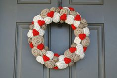 Valentine Jute Yarn Wreath/Burlap Roses/Yarn by LizzyDesigns, $55.00