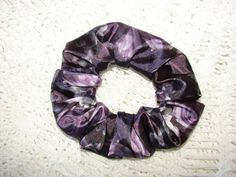 Silky PURPLE Floral Fabric Hair Scrunchie women's by coloradocntry