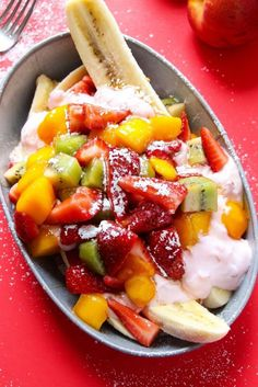 Healthy Breakfast Banana Splits with Fruit and Nutella - Layers of Happiness