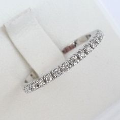 Eternity band diamond ring engagement ring wedding ring white gold 1.8mm wide. $495.00, via Etsy.