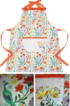 Bright Aqua green Orange Florals PEACOCK Retro Style Full Apron available at Nanalulus Linens and Handkerchiefs