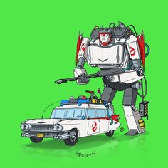 The Ecto-1 reimagined as an Autobot.