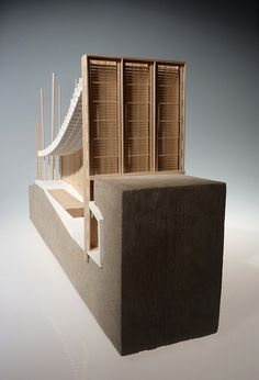 Another view of the sectional model, showing the intricate timber detailing Architecture Model Making, Architecture Drawings, Model Building, Architecture Details, Interior Architecture, Architectural Section, Architectural Presentation, Architectural Sketches, University Architecture