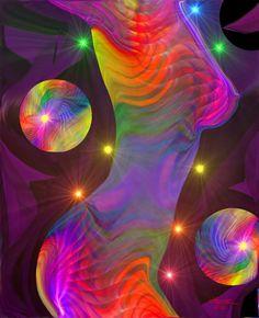 Chakra Art Abstract Figure Art Rainbow Wall Decor Reiki Energy Art Print 8 x 10 - product image