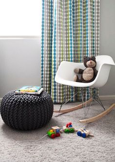 knitted-pouf - we sell these at Urban Barn! Comes in grey, lime green, white, linen and tan