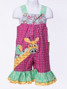 For the well clothed girl this comfortable romper in 100% cotton. Multi cotton prints featuring a appliquéd whimsical giraffe and double ruffle hem. Cool and easy wear with button shoulder access. Mac
