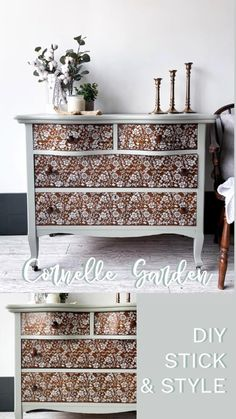 Stencilling Techniques, Furniture Painting Techniques, Chalk Paint Furniture, Furniture Projects, Furniture Makeover, Furniture Stencil, Diy Furniture Appliques, Patterned Furniture, Second Hand Furniture