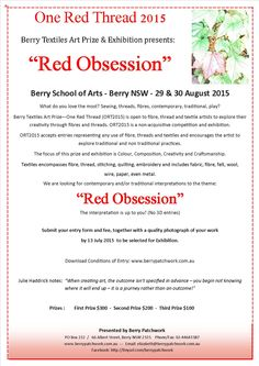 """Berry Textiles Art Prize - One Red Thread theme for 2015 """"Red Obsession"""""""
