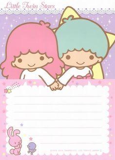 purple Little Twin Stars memo pad as courtesy of Sanrio Hello Kitty My Melody, Sanrio Hello Kitty, Kawaii Stationery, Stationery Set, Little Twin Stars, Sanrio Wallpaper, Cute Stationary, Cute Notes, Letter Set