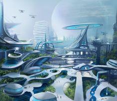 Cyberpunk City, Futuristic City, Futuristic Technology, Futuristic Design, Futuristic Architecture, Technology Gadgets, Architecture Design, Sci Fi Environment, Environment Design