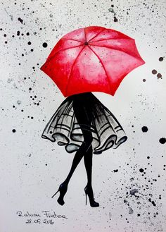Red Umbrella shared by Lyssali on We Heart It Girl Drawing Sketches, Art Drawings Sketches Simple, Cute Drawings, Sketch Painting, Painting Art, Umbrella Painting, Umbrella Art, Drawing Umbrella, Art And Illustration