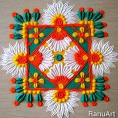 Beginners Rangoli and Kolam Designs Simple Rangoli Border Designs, Easy Rangoli Designs Diwali, Rangoli Designs Latest, Rangoli Designs Flower, Free Hand Rangoli Design, Small Rangoli Design, Rangoli Ideas, Colorful Rangoli Designs, Flower Rangoli
