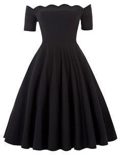 Bello Poque® Fashion Sommer 1950s Vintage Kleid Bandeau Off Shoulder Partykleid Strandkleid: Amazon.de: Bekleidung